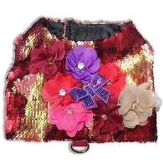 Burgundy Red and Gold Mermaid Sequin Glam Dog Harness Vest