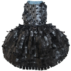 Goth Glam Distressed Gunmetal Studded Faux Leather Dog Dress