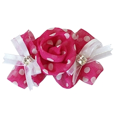 Paris Rose Pink Polka Dot Designer Dog Hair Bow