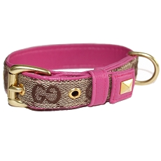 Designer Monogram Fabric Pink and Brown Luxury GG Dog Collar