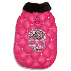 Winter Sugar Skull Pink Faux Leather Quilted Luxury Dog Coat