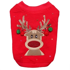 Rudolph Reindeer Red Holiday Couture Dog T-Shirt