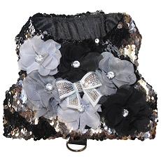 Black and Silver Mermaid Sequin Glam Dog Harness Vest