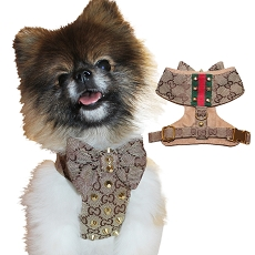 Classic GG Designer Brown Monogram Studded Step-in Dog Harness