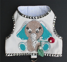 Couture Elephant White Dupioni Studded Dog Harness