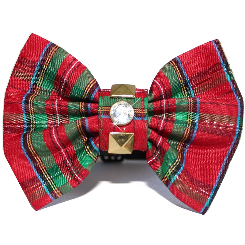 British Punk Rock Red and Green Plaid Bow Tie Christmas Dog Collar