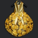 All That Glitters Yellow Sequin 3D Flower Glamour Dog Dress