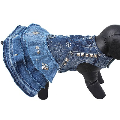 Upcycled Denim Swarovski Studded Couture Dog Dress