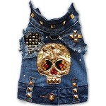 Upcycled Denim Gold Studded Skull Dog Jacket