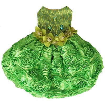 Key Lime Green Sequin Embroidered Taffeta Garden Dog Glamour Gown