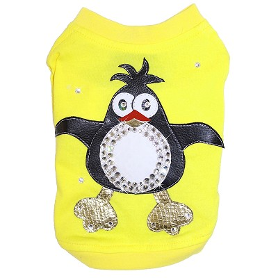 Couture Penguin Swarovski Dog Yellow Tshirt