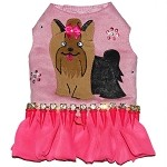 Pink Berry Yorkie Art Ruffle Harness Dress