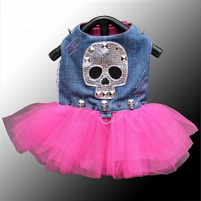 Upcycled Denim Skull Rocker Harness Dog Tutu Dress