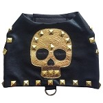 Gold Tribal Skull Black Faux Leather Studded Rocker Harness Vest