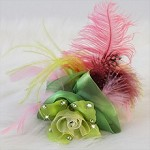 Lime Green and Pink Statement Headpiece, Feather Flower Fascinator Pillbox Hat