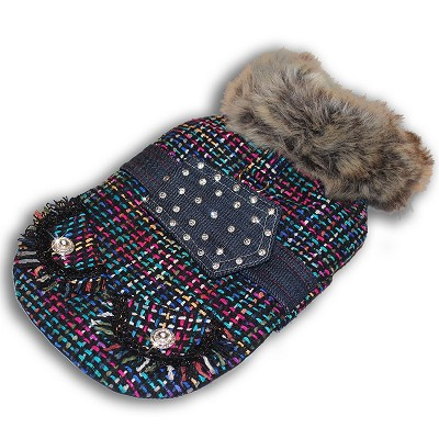 Street Chic Pink Multicolor Tweed and Faux Fur NY Dog Winter Coat