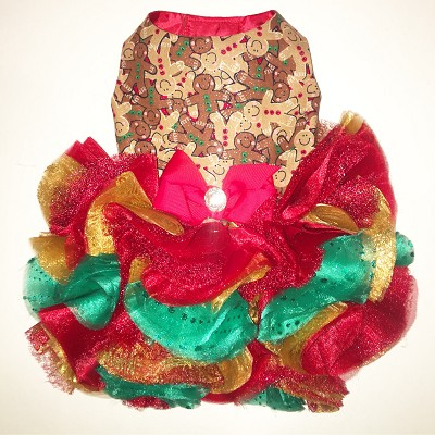 Gingerbread Holiday Couture Dog Dress