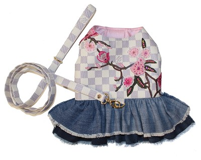 Fashion Floral Checkered Denim Dog Dress and Leash set