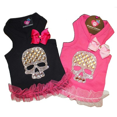 Crystal Skull Pink and Black Dog Tank Top Shirt