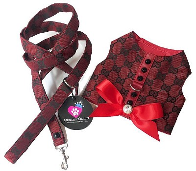 Red Monogram Studded Dog Harness Vest
