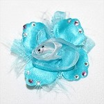 Aqua Blue Swarovski Rosette Glam Dog Hair Bow Clip