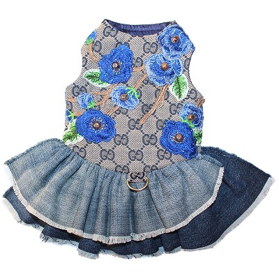Designer Inspired Blue Monogram GG Blooms Flower Denim Dog Dress