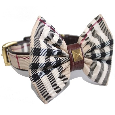 Designer Furberry British Tartan Plaid Bow Tie Dog Collar