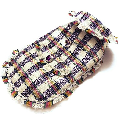 Miss Chanel Tweed Sophisticated Dog Winter Jacket, Multicolor Check Harness Coat