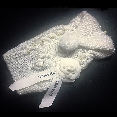CC Camellia Pearl Hand Knitted Designer Dog Fashion Sweater