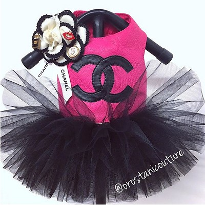 Hot Pink and Black Chanel Quilted Classy Dog Tutu Dress