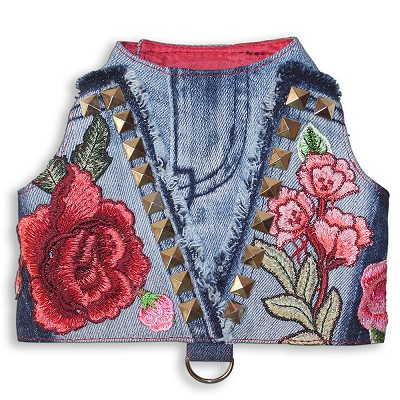 Studs and Roses Designer Denim Fashion Dog Harness Vest