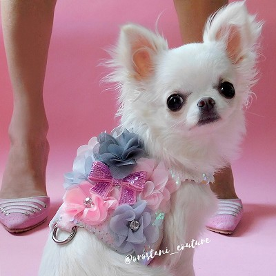 Cotton Candy Pink and White Mermaid Sequin Flower Dog Harness Vest