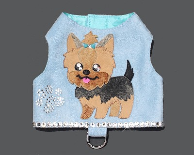 Baby Blue Yorkie Dog Portrait Art Harness Vest
