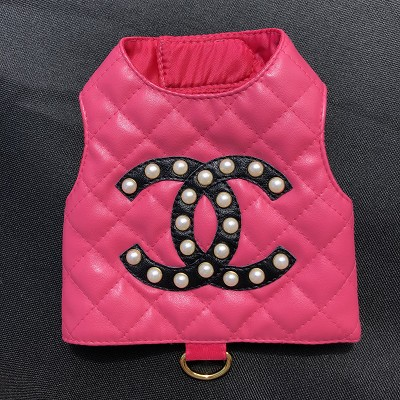 Hot Pink Hand Quilted Vegan Dog Harness Vest