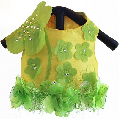 Yellow Lilies Gardenia Embroidered Luxury Dog Harness Vest