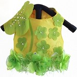 Yellow Lilies Gardenia Embroidered Luxury Dog Harness Vest 1 - XS