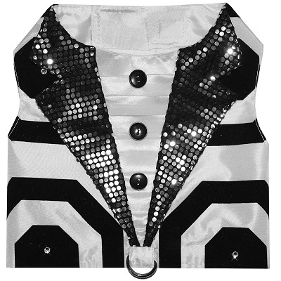 Formal Affair Geometric Black and White Tuxedo Dog Party Harness Vest