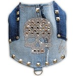 Studded Distressed Denim Silver Crystal Skull Harness