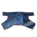 Upcycled Denim Gold Studded Designer Dog Jeans 1 Available XS/XXS