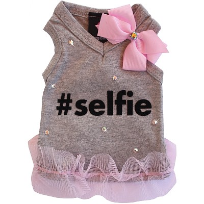 Gray Selfie Sweetheart V Neck Dog Tank
