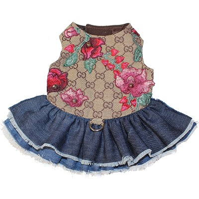 Fashion Blooms Brown Monogram Flower Denim Dog Dress