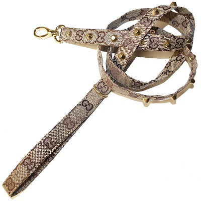 Designer GG Brown Monogram Studded Dog Leash 54""