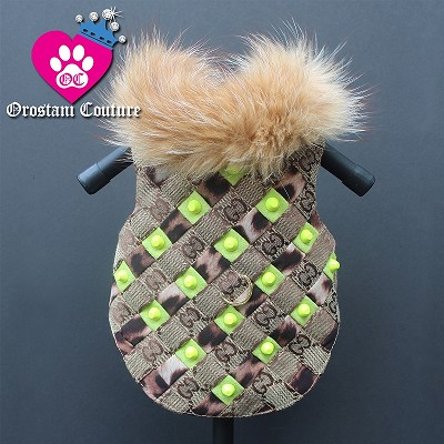 Neon Green Studded Woven Brown Monogram Dog Coat Jacket