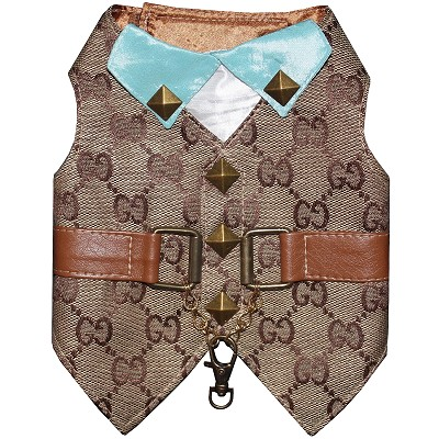 Luxury Designer GG Brown Monogram Tiffany Tuxedo Dog Harness Vest