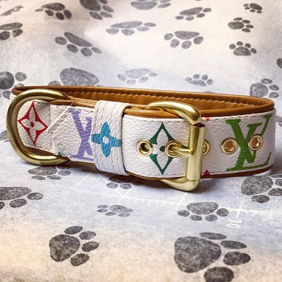 Limited Edition White Multicolor Lambskin Leather Dog Fashion Collar