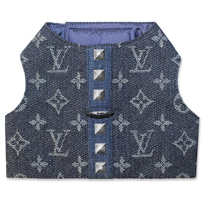 Designer Inspired Denim Monogram Dog Harness Vest