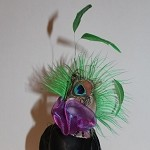 Mardi Gras Hat Statement Dog Headpiece, Feather Flower Pet Fascinator, Green and Purple Peacock Cat Hat