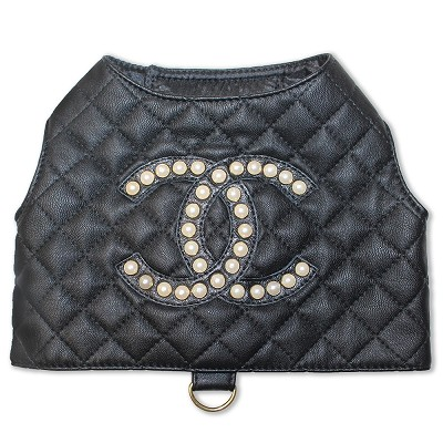 Black Quilted with Pearl Designer Inspired Dog Harness Vest