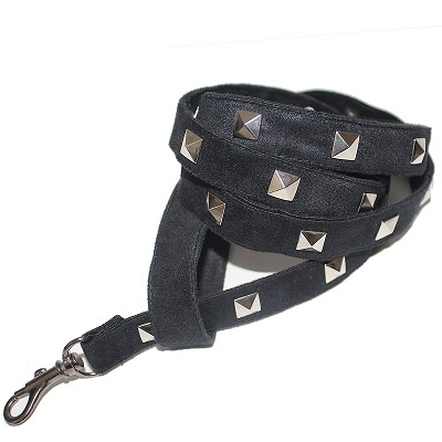 Black Ultra Suede Studded Dog Leash