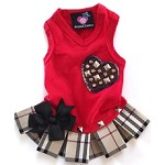 Fashion Plaid Red Dog Shirt Dress